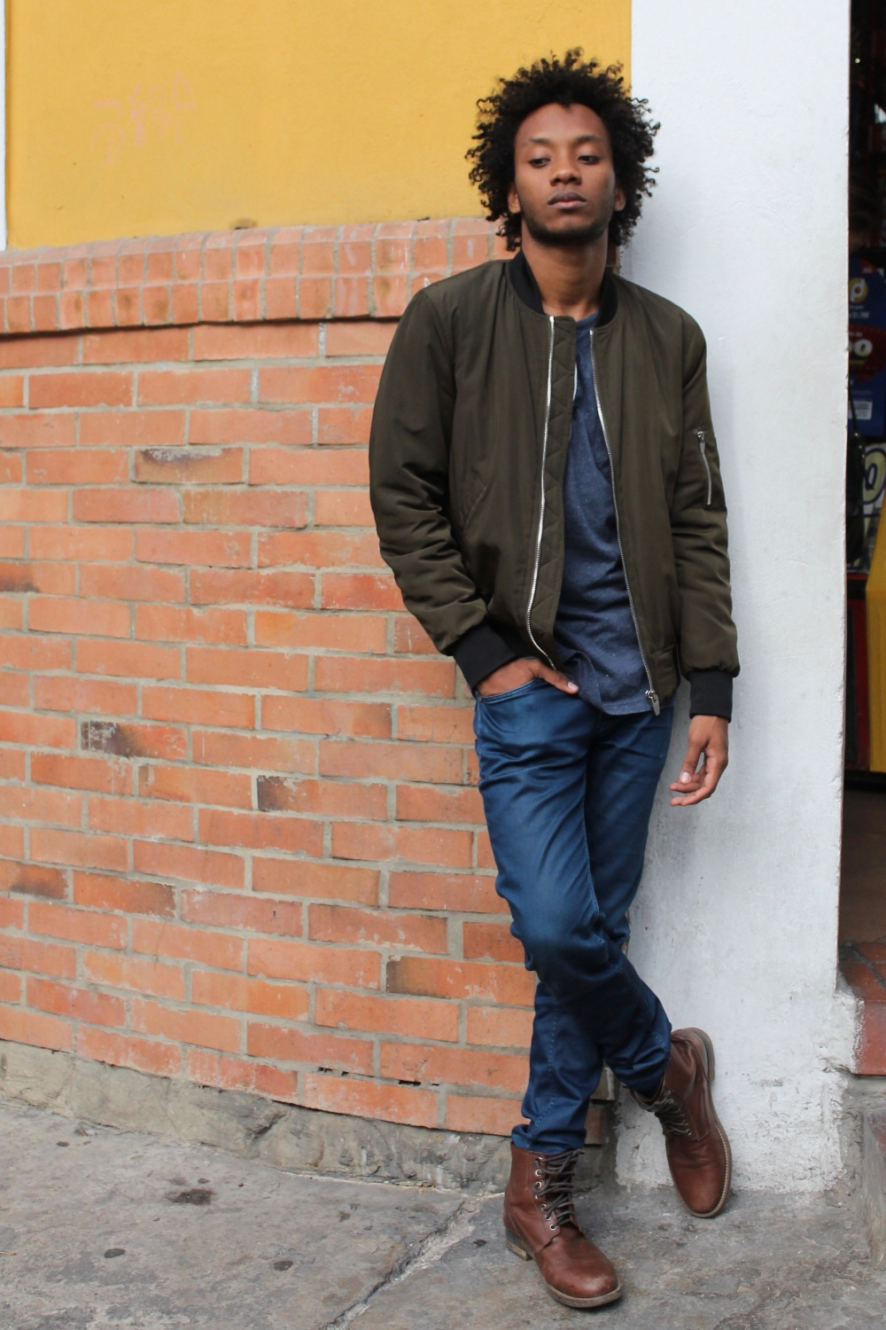 corner street style bomber outfit